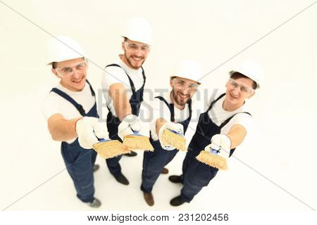 team of construction workers looking at the camera
