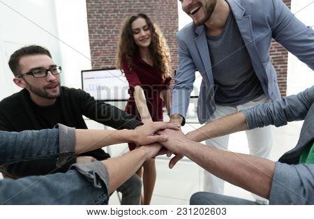 closeup.unified business team.
