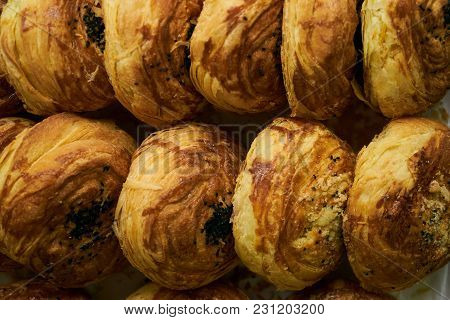Homemade Azerbaijan National Pastry Gogal On Rustic Wooden Table Background. Novruz Holiday With Aze