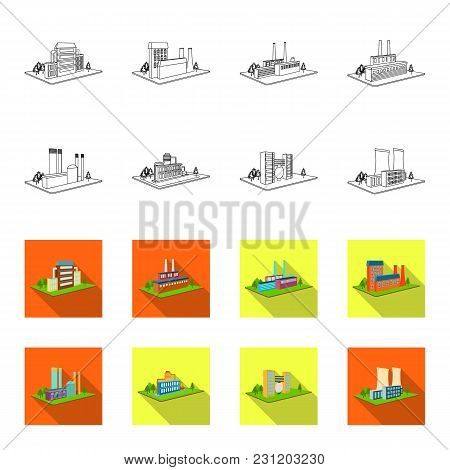 Processing Factory, Metallurgical Plant. Factory And Industry Set Collection Icons In Outline, Flet