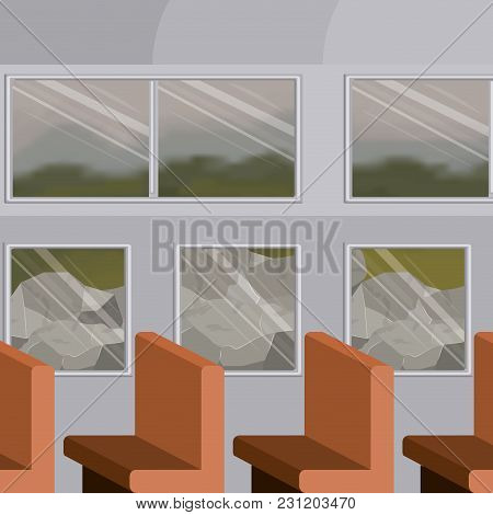 Background Interior Train With Passenger Compartiment With Rocks Scenary Behind Window Vector Illust