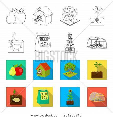 Company, Ecology, And Other  Icon In Outline, Flet Style. Husks, Fines, Garden Icons In Set Collecti