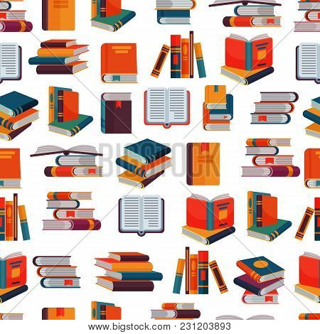 Books Vector Stack Of Textbooks And Notebooks On Bookshelves Reading Literature In Library Or Bookst
