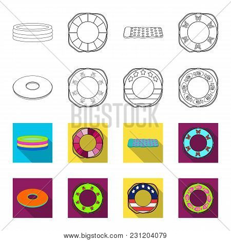 Multicolored Swimming Circle Outline, Flet Icons In Set Collection For Design. Different Lifebuoys V