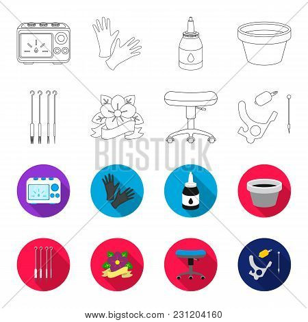 Chair On Rollers, Needles For Tattoo And Other Equipment. Tattoo Set Collection Icons In Outline, Fl
