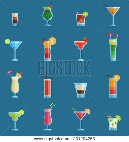 Alcoholic Cocktails Drinks Vector Fruit Cold Cosmopolitan, B-52, Mohito, Vodka Freshness Alcohol Col