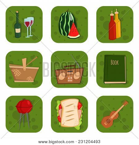 Barbecue Party Products Bbq Grilling Kitchen Outdoor Family Time Cuisine Lunch Vector Illustration.