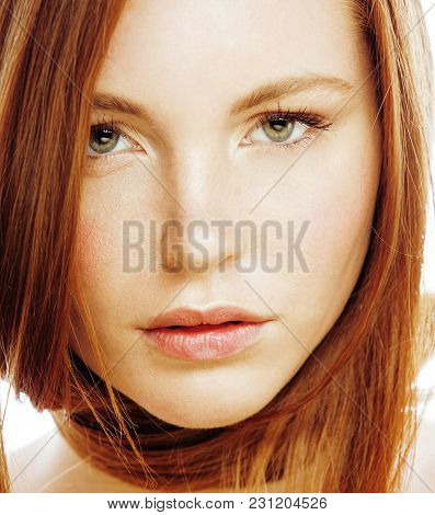 Beauty Young Redhead Woman With Red Hair, Funny Ginger Fresh Spa Girl Isolated On White Background C