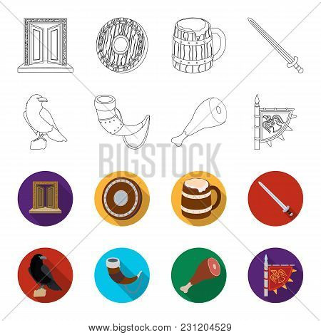 Sitting Crow, Horn With Drink, Ham, Victory Flag. Vikings Set Collection Icons In Outline, Flet Styl