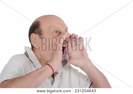 Portrait Of Elderly Man Screaming With Her Hands On Face. Isolated White Background
