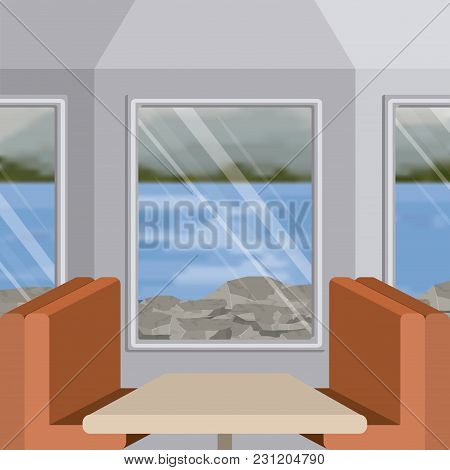 Background Interior Train With A Passenger Compartment And Blur Lake Scenary Outside Vector Illustra