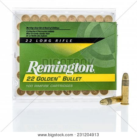 Winneconne, Wi -5 March 2018: A Box Of Remington 22 Long Rifle Ammunition On An Isolated Background.