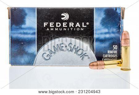 Winneconne, Wi -5 March 2018: A Box Of Federal  Ammunition 22 Long Rifle Ammunition On An Isolated B