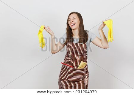 Young Smiling Housewife In Striped Apron With Cleaning Rag In Pocket Isolated On White Background. P