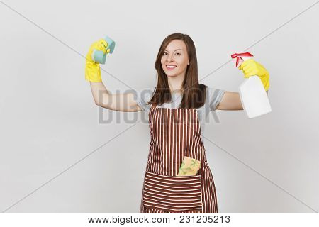 Housewife In Yellow Gloves, Apron, Cleaning Rag In Pocket Isolated On White Background. Stronge Woma
