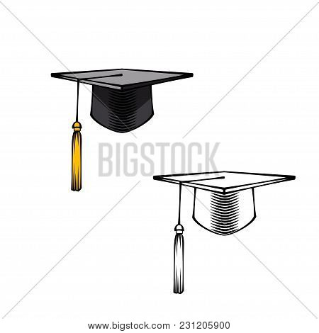 Graduation Cap Or Hat. Academic Caps Set. Graduation Cap. Vector Illustration Isolated On White Back