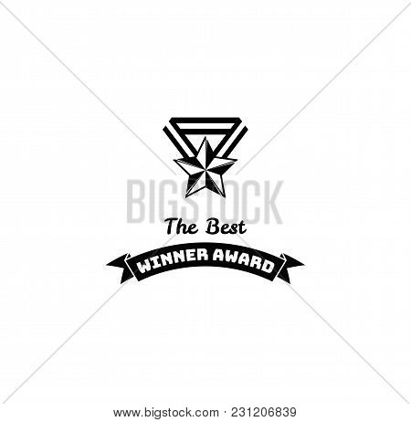 Winner Award Trophy Star. Vintage Reward, Medal With Star With Ribbon. Winners Prize. Vector Illustr
