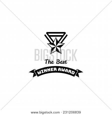 Winner Award Trophy Star. Vintage Reward, Medal With Star With Ribbon. Winners Prize. Vector Illustr