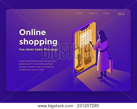 Sale, Consumerism And People Concept. Young Woman Shop Online Using Smartphone. Landing Page Templat