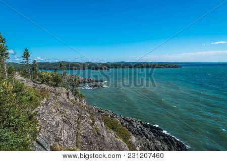 Picture Of The Rocky Shore Of Superior Lake, Canada