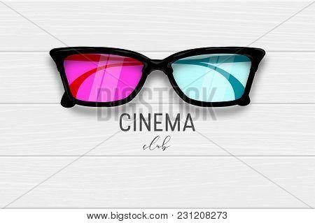 Cinema 3d Glasses Wooden Banner. Realistic Wooden Texture Banner Lifestyle Entertainment Design. Woo
