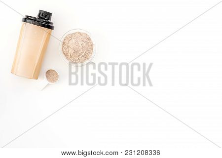 Protein Powder For Fitness Nutrition To Start Training On White Desk Background Top View Mock-up