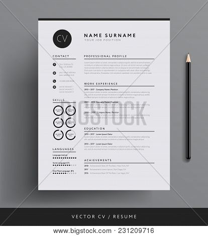 Professional Cv Resume Template Design For A Creative Person - Vector Minimalist - Black And White C