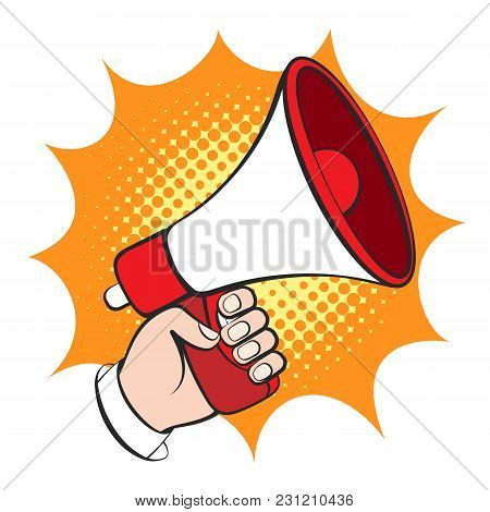 Cartoon Hand With Megaphone. Announce Bullhorn Retro Vector Illustration, Business Man Hand With Lou