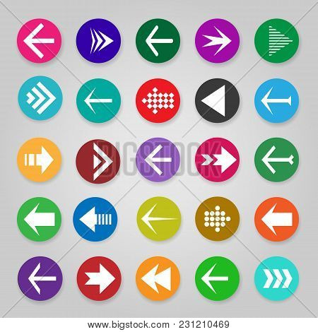 Website Arrow Buttons. Vector Up, Undo And Directional Arrows, Infographic Arrow Icons