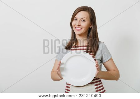 Young Attractive Smiling Brunette Caucasian Housewife In Striped Apron, Gray T-shirt Isolated On Whi
