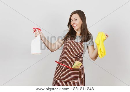 Young Smiling Housewife In Striped Apron With Cleaning Rag Squeegee In Pocket Isolated On White Back