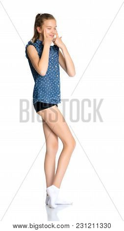 Beautiful Teen Girl Gesticulating In Front Of The Camera. Concept Happy Childhood And Holidays. Isol