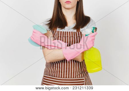 Close Up Cropped Portrait Housewife In Pink Gloves, Striped Apron Isolated On White Background. Woma