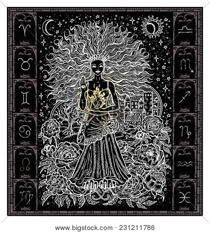 White Silhouette Of Fantasy Zodiac Sign Leo In Gothic Frame On Black. Hand Drawn Engraved Illustrati