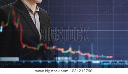 Double Exposure Businessman And Slightly Decreasing Graph Background. Economic Bubble, Economy Fail