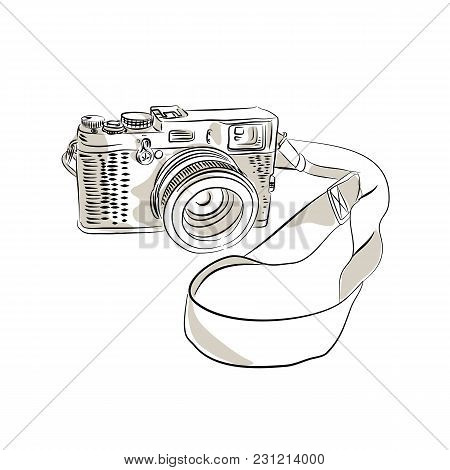 Drawing Sketch Style Illustration Of A Vintage 35mm Slr  Film Camera With Sling Or Strap And Zoom Le