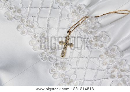 Sparkling Gold Cross With Heart & Chain On White First Communion, Baptism, Christening, Wedding Dres