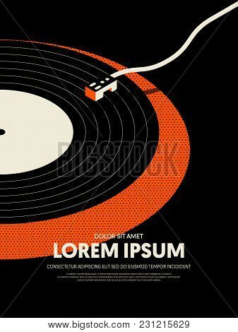 Music Retro Vintage Abstract Poster Background. Design Element Template Can Be Used For Backdrop, Br