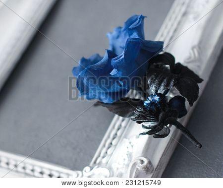 Navy Blue Woman Brooch With Silk Flowers Handmade
