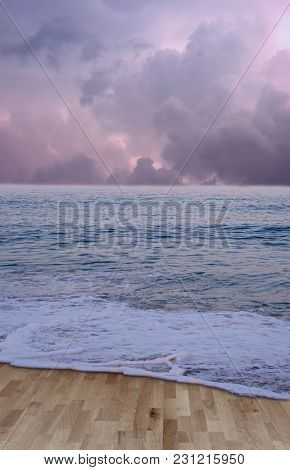 A Premade Background Setting Of A Wooden Floor With A Wave Washing Over It.