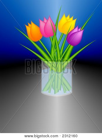 Stylized Tulips in Cylindric Transparent Vase