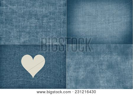 Set Of Four Blue Aged Coarse Fabric Textures, Burlap Linen Backgrounds Teal Blue Collection