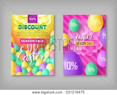 Easter Banner Set. Two Flayers On Festive Theme With Eggs, Rabbit Ears. Vector Illustration Of Leafl