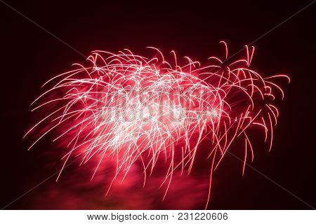 Beautiful Multiple Colorful Fireworks On Night Sky