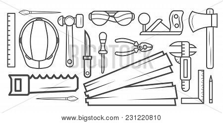 Woodworking Instrument Black And White Sketch Vector Illustration. Carpentry Professional Service, F