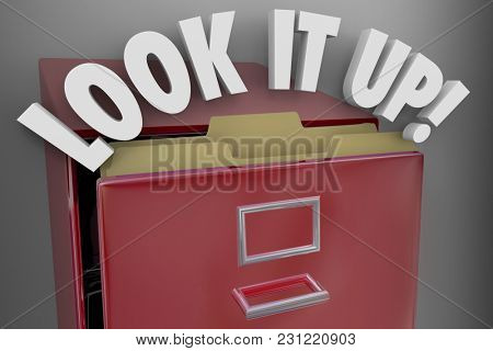 Look it Up Filing Cabinet Records Archives 3d Illustration