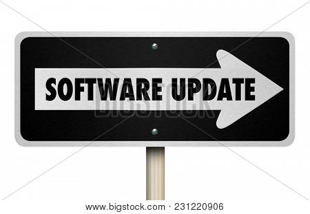 Software Update New Application Improved Features Sign 3d Illustration