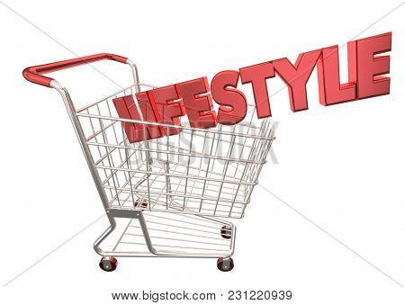 Lifestyle Shopping Cart Buying Products Spending 3d Illustration