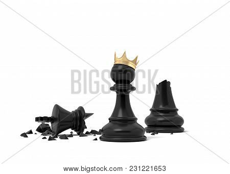 3d Rendering Of A Black Chess Pawn Wearing A Gold Crown And Standing Near A Broken Black King Piece.