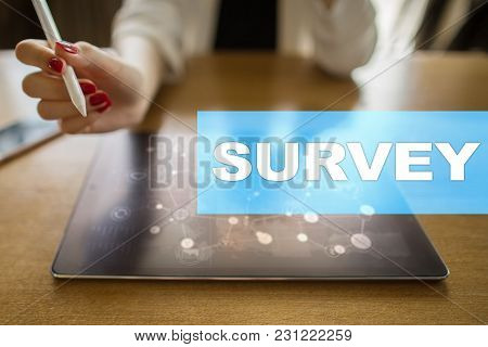 Survey Text On Virtual Screen. Feedback And Customers Testimonials. Business Internet And Technology